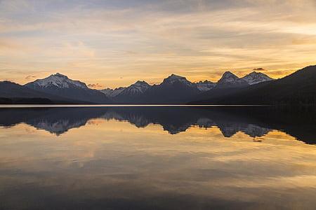 Llac mcdonald, reflexió, paisatge, Alba, panoràmica, escèniques, Parc