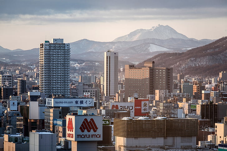 japan, city, asia, building, scene, urban, cityscape