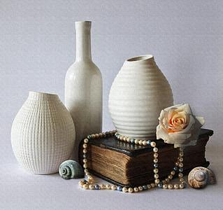 Zátiší, vázy, dekorace, keramika, bílá, Váza Flower, plavidla