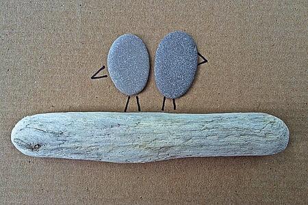ร็อค, ศิลปะ, งานฝีมือ, นก, driftwood