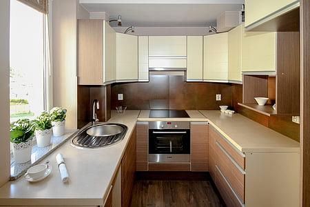keuken, kitchenette, Appartement, kamer, huis, woon interieur, interieur design