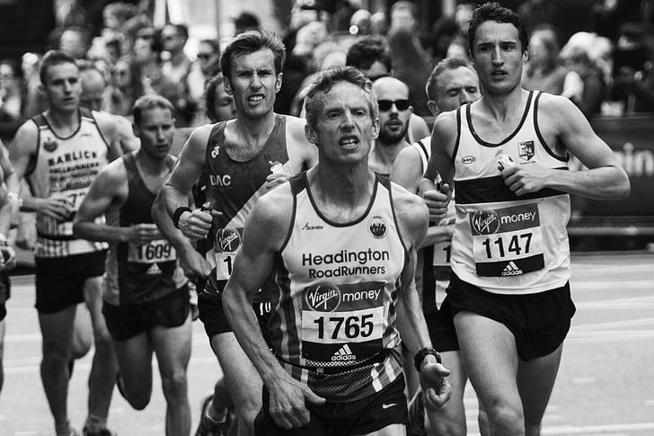 Marató de Londres, determinació, enfocament, corredors