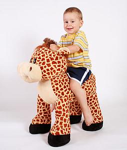 băiat, zambind, copil, juca, echitatie, jucărie, animale