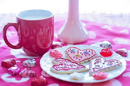 발렌타인의 날, 발렌타인 쿠키, 휴일, 사랑, 축 하, 심장, 핑크
