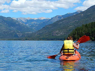 eau, personne, montagne, admirant, heureux, vacances, Précédent
