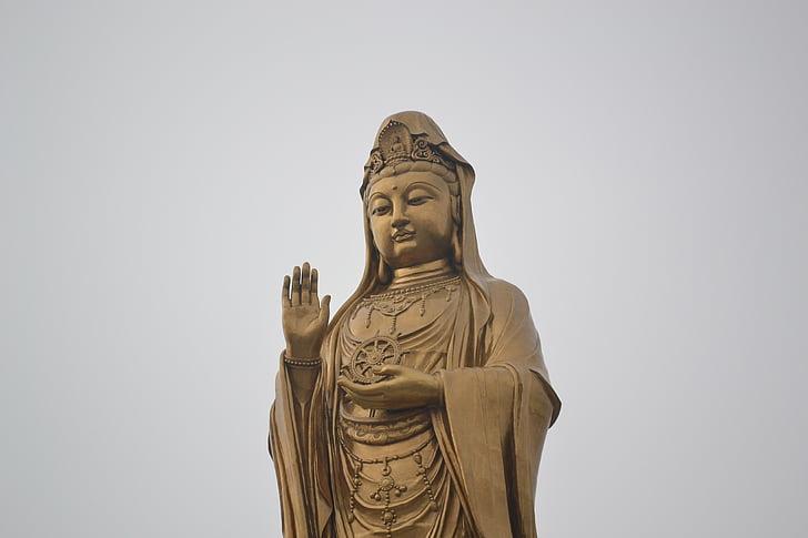ο Βούδας, ο Βουδισμός, Κίνα, Guanyin, χρυσό, Ζεν