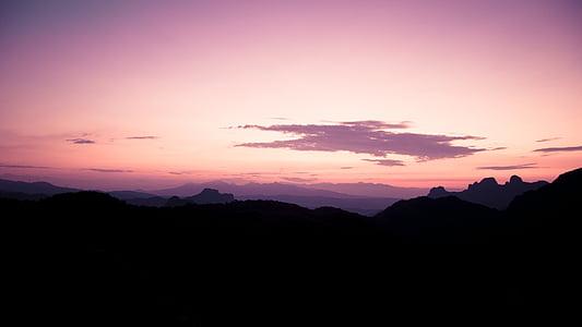 Dawn, skymning, kvällen, morgon, bergen, naturliga, naturen