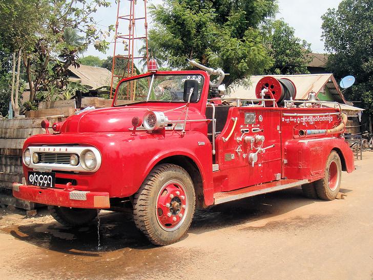 auto, oheň, Mjanmarsko, Barma, červená, vozidlo