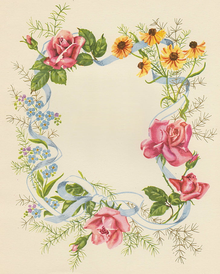 birthday cards, flowers, framework, old fashioned, antique, illustration, flower