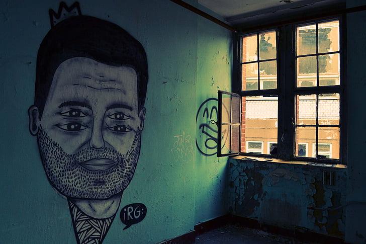 fekete, ember, festmények, zöld, fal, Art, graffiti