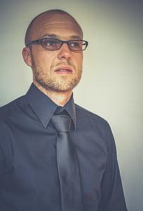 eye glasses, man, person, portrait, tie, men, adult