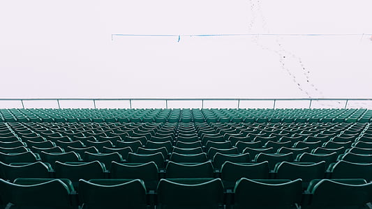 chairs, stadium, empty, rows, public, perspective, green