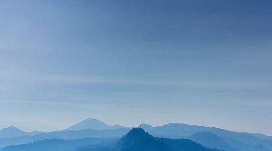 blau, cel, muntanyes, natura, paisatge, tons, pic