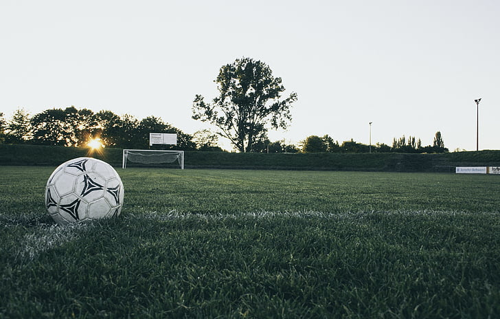 football, ball, sports ground, goal, kick-off, leather, ball sports