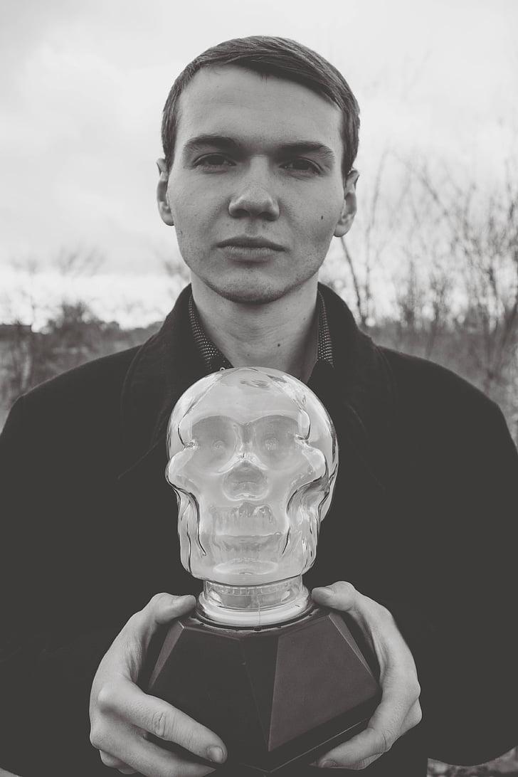 čierno-biele, výraz tváre, muž, model, portrét, lebka