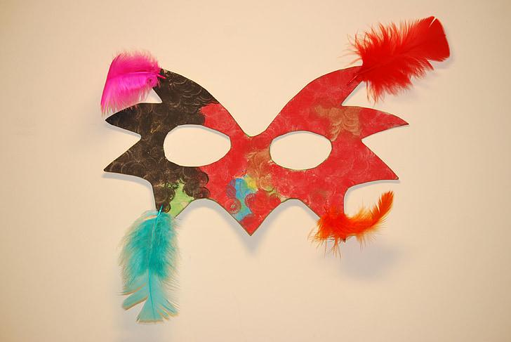 Maska, pióropusze, Karnawał, domowej roboty, Wenecja