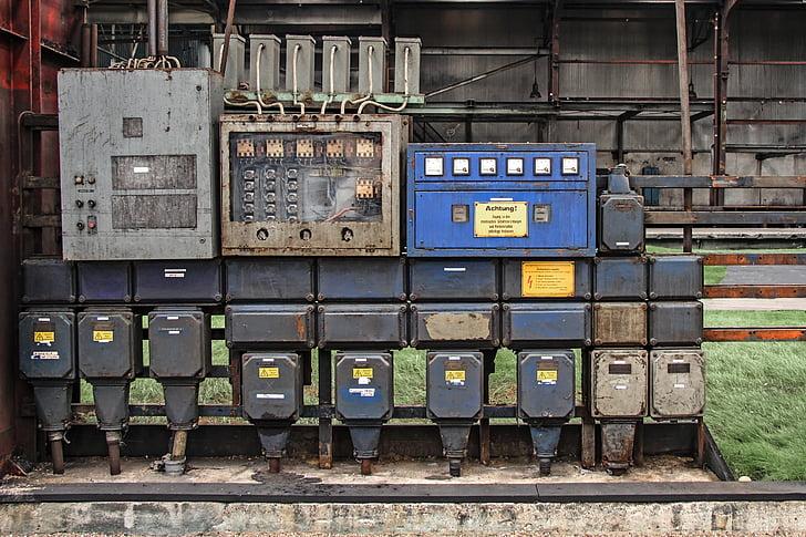 actual, caixes de poder, vell, fàbrica, indústria, Ferreries