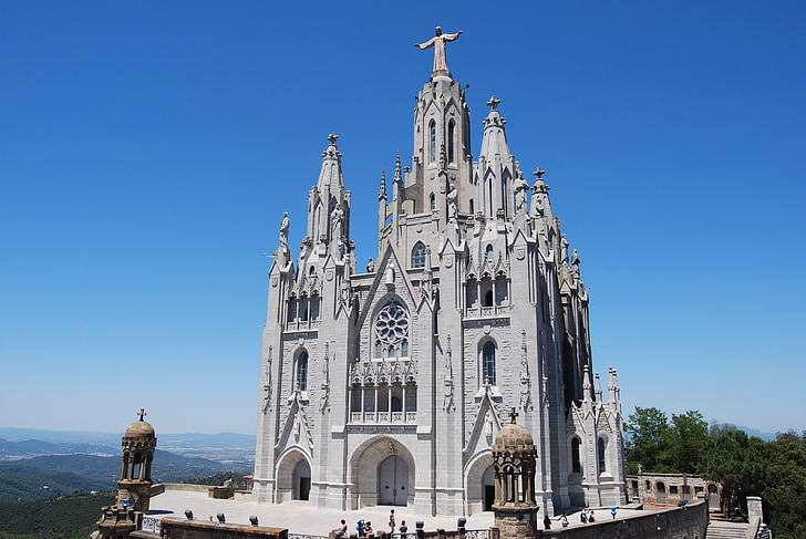 tibidabo, barcelona, catalonia, cathedral, church, catalunya, cathedral church