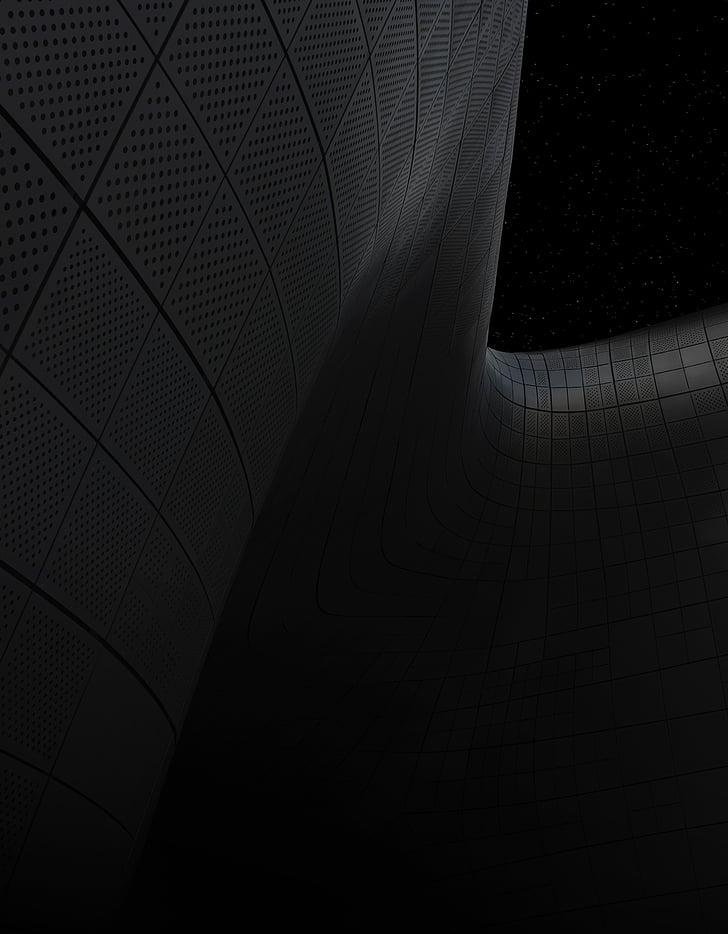negre, corbes, línies, fosc, arquitectura, disseny, Art
