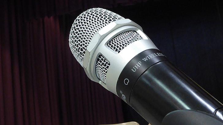 mikrofonas, MIC, izoliuotas, Juoda, Sidabras, paprastas, garsiakalbis
