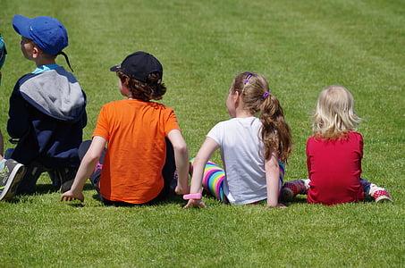 children, lawn, sit