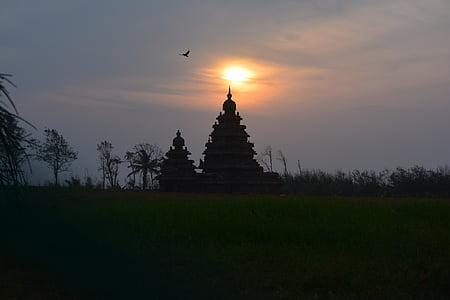 Mahabalipuram, soluppgång, Shore-templet, Chennai, gamla, hinduiska, historia