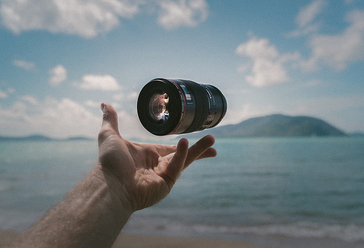 kamero, objektiv, dodatek, morje, vode, roke, Palm