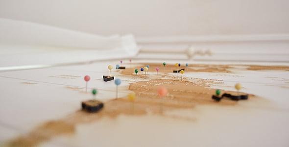 profunditat de camp, headpins, mapa, marques, agulles de cap, viatges