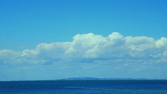 clouds, sky, sol, blue, mar, blue sky, water