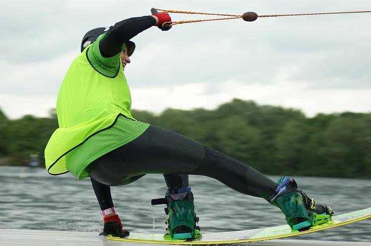 idrottare, Whale, wakeboard, strimla, vatten, styrelsen sport, kabel