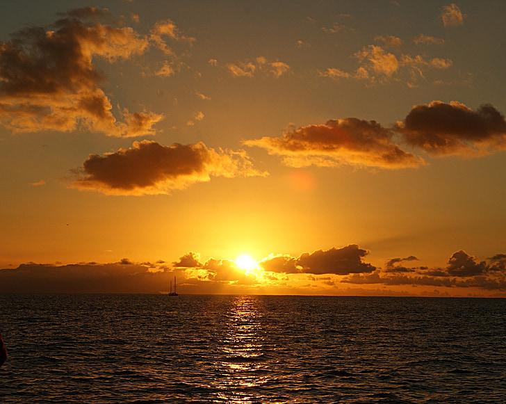 posta de sol, Mar, vacances, viatges, l'aigua, sol, nit