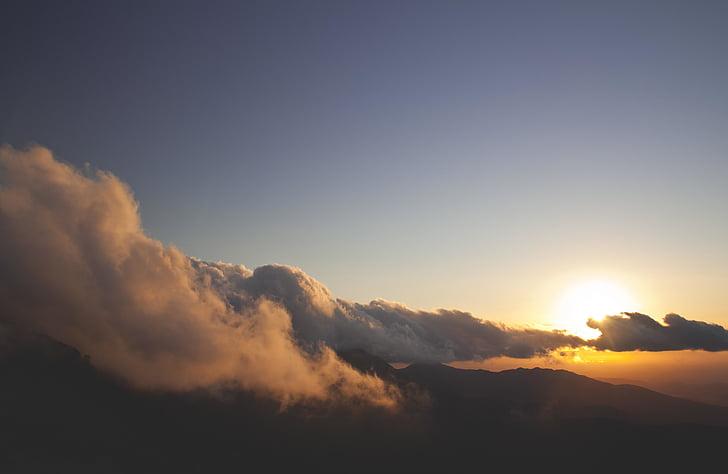 molnbildning, moln, molnlandskap, ljus, Mountain, Utomhus, Sky