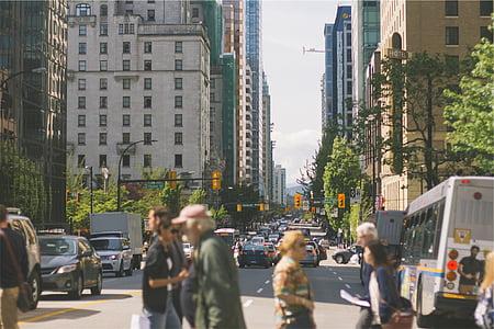 group, people, car, street, city, pedestrians, walking