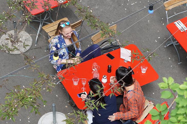Vonkajší, morenie, Záhrada, Tabuľka, ženy, hovoriť, socializáciu