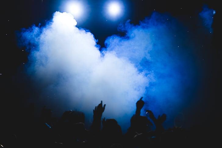 smoke, party, people, dark, night, celebration, concert
