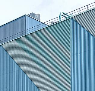 Arhitektuurne projekteerimine, arhitektuur, hoone, välisilme, tööstushoone, tööstusliku sisseseade, väike nurk shot