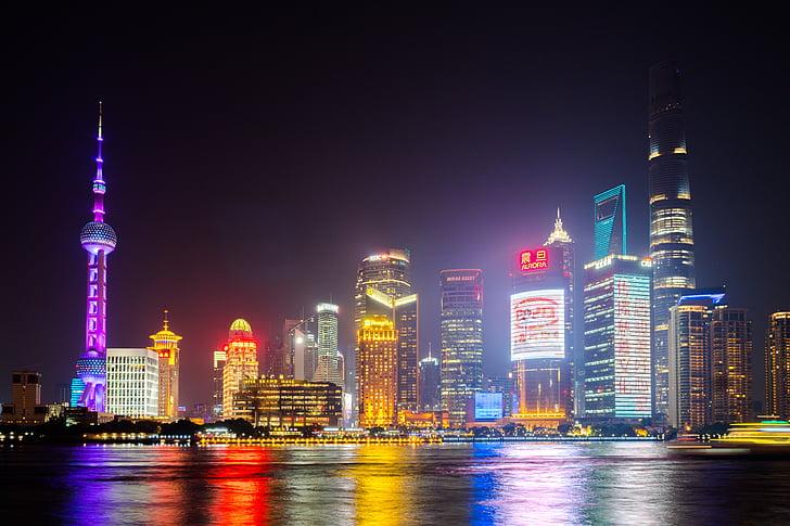 shanghai, china, city, landmark, finance, lujiazui, bund