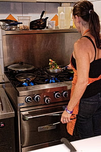 cuina, cuina, dona, cuinar, Saltat, estufa, testos