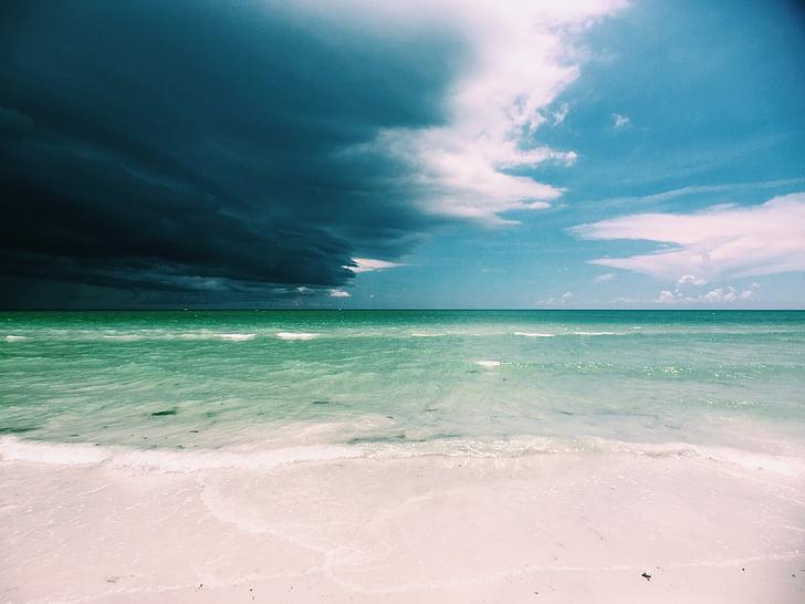 platja, núvols fosques, oceà, sorra, Mar, marí, vora del mar