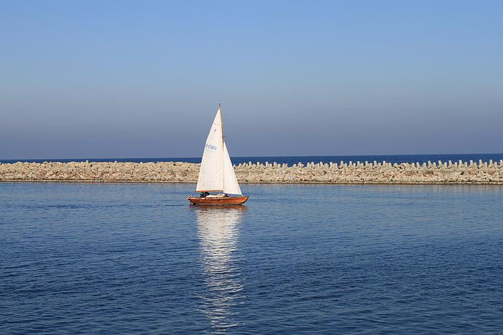 segelbåt, Östersjön, havet, hamn