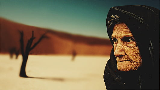 người phụ nữ, màu đen, mui xe, mọi người, bà già, sa mạc, người Bedouin