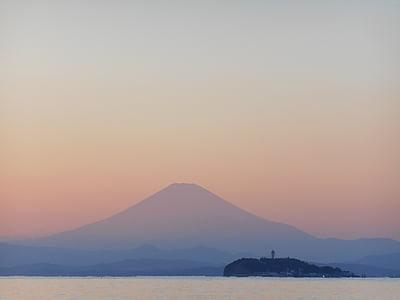 Mt fuji, posta de sol, Mar, Enoshima, nit, paisatge, Japó