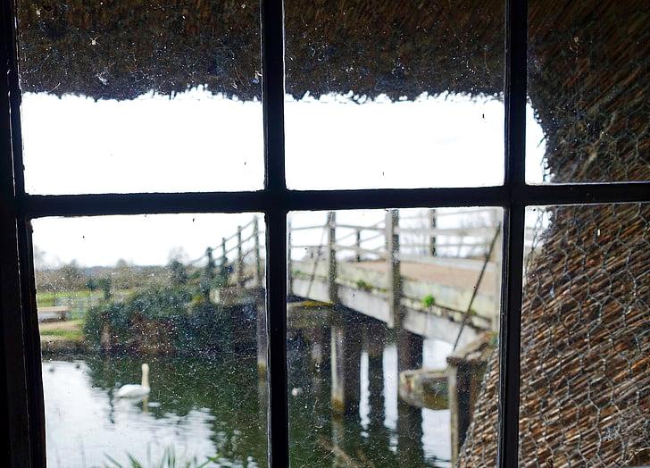 finestra, escena, borrosa, Mirant cap a fora de finestra, vista de la finestra, finestra de la casa