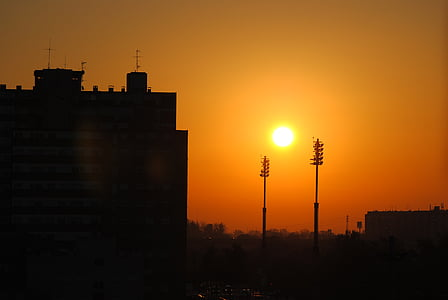 dawn, saragossa, sun, city