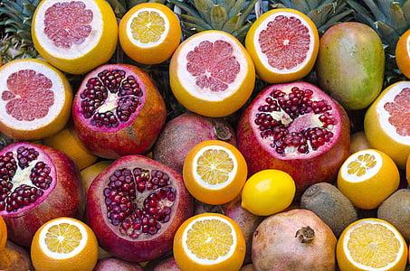 comida, banca de frutas, frutas, toranja, saudável, quivi, limão