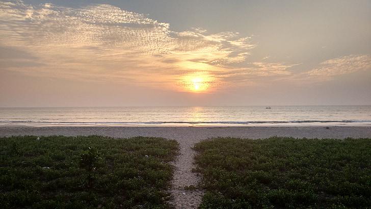 posta de sol, Mar, cel, platja, llum del sol, sol, capvespre