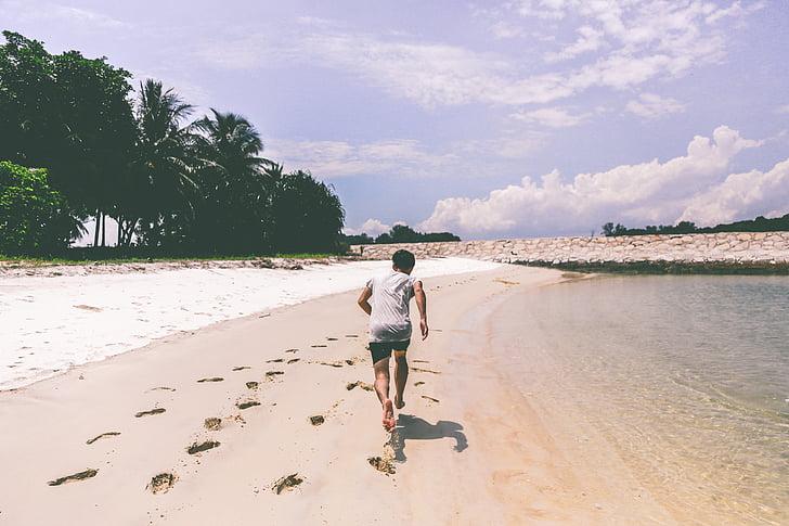 sporta, darbojas, pludmale, ārpus telpām, fitnesa, uzdevums, skrējējs