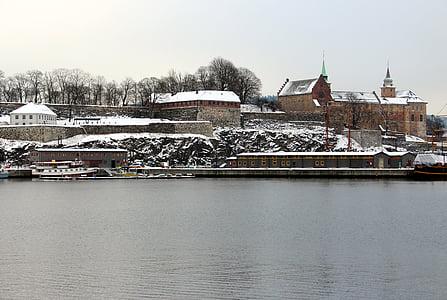 Oslo, Norge, Akershus fästning, hamn, Oslofjorden, staden, Holiday