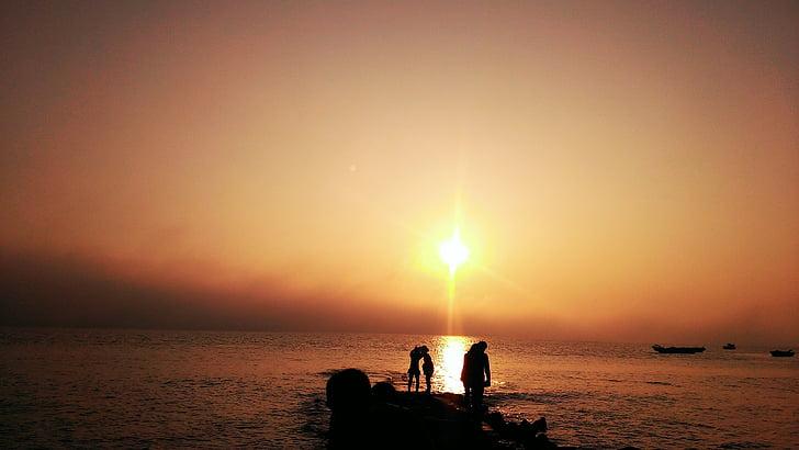 fons, Xiamen, posta de sol, el mar
