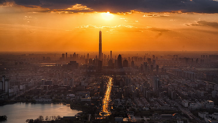 Tianjin, Twilight, City, landskab, turisme, Sunset, Tower